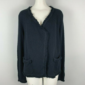 NWT LOFT Black Fringe Sweater Cardigan Open Front